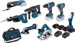 8 Tool Kit 18V - 7 machines + Lamp + 4 x 5,0Ah Li-Ion Comboset 0615990K9H + 5 jaar dealer garantie!