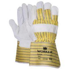 Nerflederen handschoen met gerubberiseerde gele kap en palmversterking
