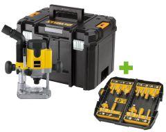 DW621KT-QS 1100 Watt elektronische bovenfrees in TSTAK koffer + 5 jaar dealer garantie! + gratis DT90016-QZ 12-delige frezenset