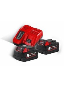 M18 NRG-502 - M18 B5 DUO Pack 18V 5.0Ah Redlithium-Ion + Lader M12-18FC