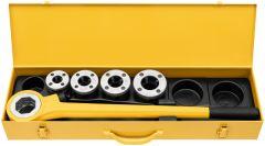 520015 Eva Set R 1/2-3/4-1-1 1/4 inch Handdraadsnij-ijzer met snelwisselsnijkoppen