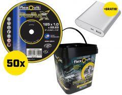66252846995 50 Stuks Perflex Doorslijpschijven 125 x 1.0 in Emmer + gratis Powerbank