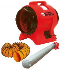 MV300PPSET Ventilator 300mm - 750 watt met afvoerslang en filterzak