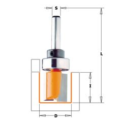 16 mm Groeffrees met lager lang schacht 8 mm