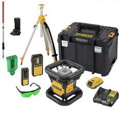 DCE079D1G-SET 18V 2,0Ah Li-Ion Volautomatische roterende groene laser (outdoor) + 5 jaar dealer garantie! + meetlat + statief