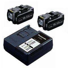 EYC954B Accu/Lader Set - 2 x 18 Volt 5.0 Ah Li-ion + Oplader