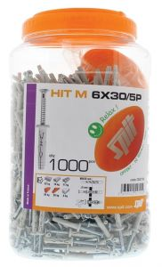 Hit-M 6 x 30/5 P Slagplug met kraag + schroef 1000 stuks