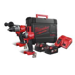 M18 FPP2A2-502X Powerpack 18V 5,0Ah Li-Ion - M18FPD2 Klopboor + M18FID2 Slagschroever in koffer
