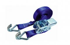 Sjorband 25mm. ratel blauw 5.0m met J-haken