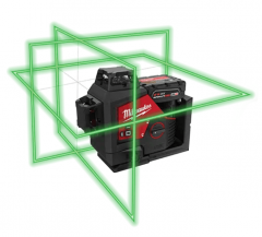 M12 3PL-401C Kruislijnlaser met 3 groene 360° laser cirkels 12V 4.0Ah Li-ion