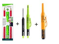 PICASET - Pocket 505/01 2 potloden met slijper + 3030 Dry markeerpotlood + 150/46 markeerstift voor diepe gaten