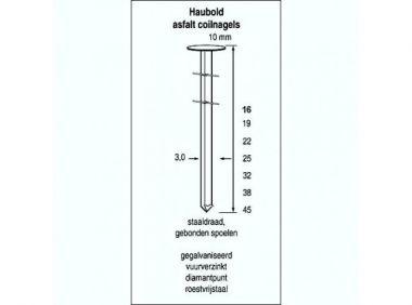 Asfaltspoelnagels CW 3,0 x 19 mm verzinkt 3000 stuks