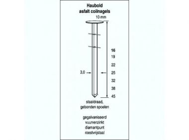Asfaltspoelnagels CW 3,0 x 22 mm verzinkt 3000 stuks