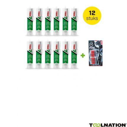 Montagekit koker 310 ml Wit 12 stuks + gratis Silicone Master kit afstrijkset