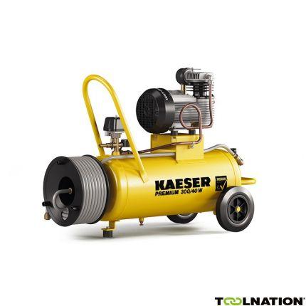 Premium 300/40W Zuigercompressor 230 Volt + Haspel incl. 20 mtr. luchtslang