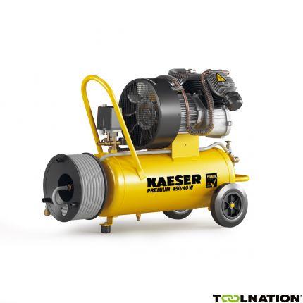 Premium 450/40W Zuigercompressor 230 Volt + Haspel incl. 20 mtr. luchtslang